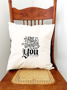 Home Is Wherever I'm With You - Valentine's Pillow Cover - Embroidered Pillow by LindasOtherLife on Etsy