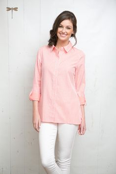 Reverse check shirt in pink peony!