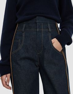 Denim On Denim, Dark Denim, Denim Pants, Trousers, Jacket Outfit, All Jeans, Denim Ideas, Denim Fashion, Womens Fashion