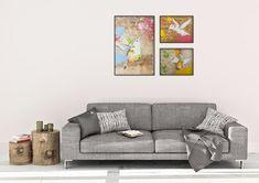 Hummingbird Print Set of 3 Colorful Wall Art Wall by NaamaSegalArt
