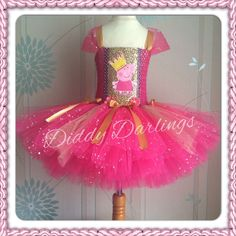 Pink and Gold Peppa Pig Tutu Dress Sparkly Glitter Sequins Birthday Girl Party  #DiddyDarlings #CasualFormalParty