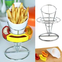 Uno Casa 5pc French Fry Cone Holder Set Fries Basket Server Liner And Dip Bowls  | eBay