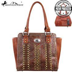 Montana West Concealed Handgun Collection Studded & Stitched Handbag – Handbag Addict.com