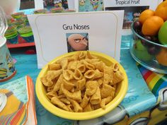 """""""Gru Noses"""" using bugal chips. Food Idea for Despicable Me Birthday Party"""