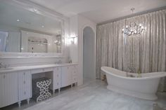 Chic white bathroom | Billy Halpern. #laylagrayce #bathroom #white