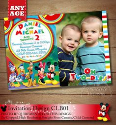 YOU CHOOSE Mickey Minnie Twins Birthday by ThePrintableOccasion