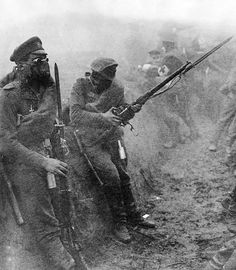 WWI; Imperial Russian soldiers ready for a gas attack probably on the Eastern Front.
