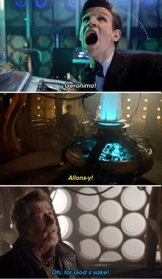 The Day of The Doctor (Dr. Who 50th Anniversary episode). This was one of the best dialogue sequences in scenes featuring all 3 doctors.