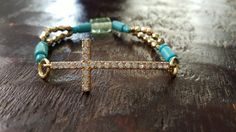 Rhinestone Cross with Gold Turquoise and by FindingLifeDesigns