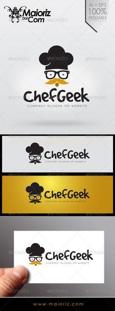 Chef Geek Logo sale $29 #brand #inspiration #logoinspiration #design #logo #vector #logotype #chef #food #gourmet #dinner #meal #geek #glass #face #restaurant #rest #hat #cook