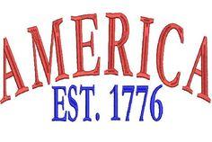 America Est 1776  Military USA Embroidery Design 4X4