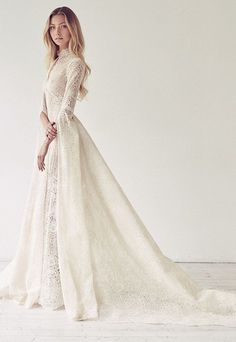 Wedding Dresses Lace High Neck 33 Elegant High-neck Wedding Dresses To Try - weddingcolors.Wedding Dresses Lace High Neck 33 Elegant High-neck Wedding Dresses To Try - weddingcolors Modest Wedding Dresses, Bridal Dresses, Dress Wedding, Wedding Dress Collar, Wedding Ceremony, Wedding Venues, Wedding Outfits, Long Sleave Wedding Dress, Medieval Wedding Dresses