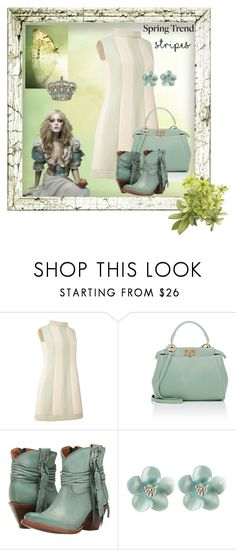 """Minty Stripes"" by stormysmom ❤ liked on Polyvore featuring Fendi and Lucchese"