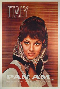 Vintage travel poster for Italy (presumably the resemblance to Sophia Loren is just coincidental!)