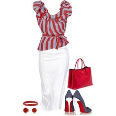 Red White and Blue by terry-tlc on Polyvore featuring moda, Christian Louboutin, Prada and Bling Jewelry