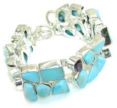 Natural Beauty!! Blue Larimar Sterling Silver Bracelet