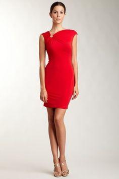 Calvin Klein - Asymmetrical Neck with Ring Detail Dress
