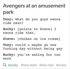 Bucky trolling Tony is the best thing ever