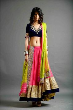Colorful Lehenga w/ Gold, Black Choli w/ Silver