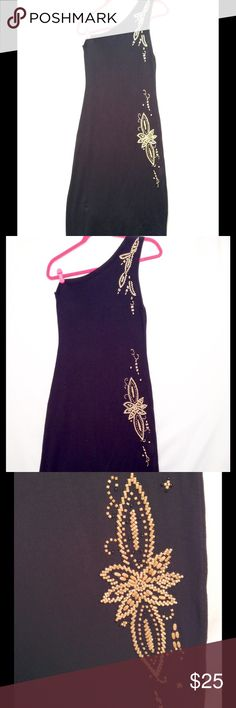 Vintage Asymmetrical Black Beaded Knit Dress This almost vintage dress by Italian designer Pinko was bought about 15yrs ago from Century 21 Dept Store in NY and worn once (when I had the body, lol)... Excellent PreLoved Condition (with one baby flaw - one of the barrel beads is missing but can't be seen unless you are up close)... There is a small piece of loose thread there where you can reattach another bead (unfortunately I don't sew)... This is a very sexy dress that will slightly…