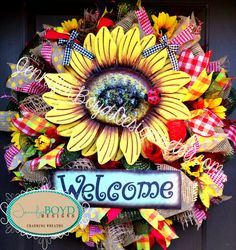 Welcome Sunflower Wreath by Jennifer Boyd Designs.  www.facebook.com/JenniferBoydDesigns. www.etsy.com/shop/JenniferBoydDesigns