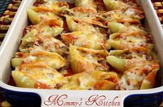 Mexican Stuffed Shells....i make these but have never used the cream cheese...gonna try that next time!