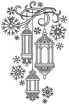 Lanterns in the Snow design (UTH7197) from UrbanThreads.com