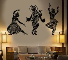 Vinyl Wall Decal Dance Indian Womans Devadasi Indian Dance School Hindu Stickers Unique Gift 44 in X 70 in / Black Dancing Drawings, Wall Painting Decor, Design Exterior, Indian Art Paintings, Wall Drawing, House Drawing, Paint Designs, Vinyl Wall Decals, Big Cats
