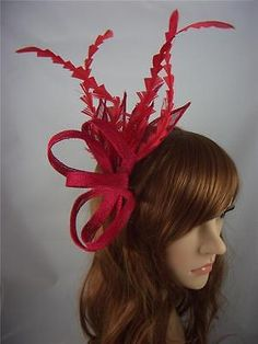 150b646091ca1 Red Comb Hat Fascinator with Feathers - Special Occasion Wedding Races