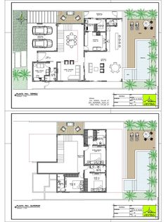 Contemporary House Plans, Modern House Plans, Small House Plans, House Floor Plans, House Floor Design, Modern House Design, Architecture Plan, Architecture Details, Bungalow Haus Design