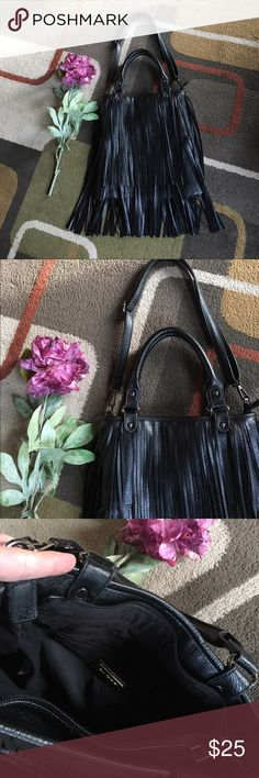 """Bam Forever bag🌺 Black fringe bag🌺 material is 100% polyurethane🌺fringe goes all the way around bag🌺 dark silver hardware🌺 bag has handles and a Crossbody strap🌺inside 1 zip and 2 slip pockets🌺bag measures approx 12.5"""" W x 14"""" H 🌺handle drop is approx 7"""" Bags"""