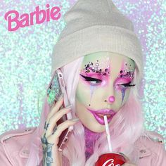 """WEBSTA @ bellejorden - """"Hi Ken. Can you bring over some more glitter?"""" Glam Clown Barbie I filmed this and will have this uploaded soon. If you recreate it over Halloween tag me! ✨"""