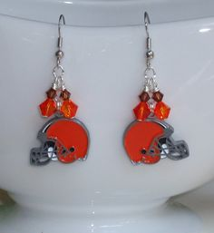 Cleveland Browns Inspired Orange and Brown Crystal by scbeachbling, $15.50