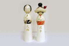 No114 Fukuju kokeshi (with pen) (Good Luck weding dolls)
