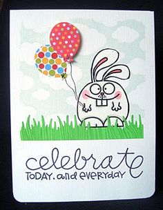 Judy's Card Corner: Bunny with Balloons