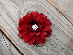 Burgundy Flower Fascinator Hair Clip Pin with by EnchantedlyYours, $9.99