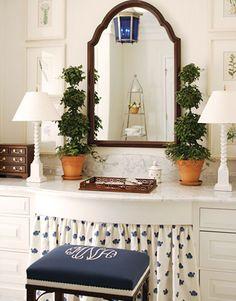 Monogram on vanity seat Vanity Seat, Vanity Stool, Vanity Fair, Vanity Tables, Boudoir, South Shore Decorating, Makeup Vanities, Beautiful Bathrooms, Home Interior Design