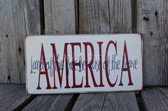 Americana Block Wood Sign independence summer flag by jodyaleavitt. $14.95, via Etsy.