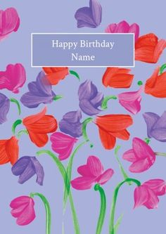 Floral personalised thank you card Happy Birthday Name, Birthday Cards, Greeting Card Shops, Personalized Thank You Cards, Give Thanks, Thankful, Sweet Peas, Floral, Personalised Thank You Cards