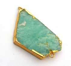 24K Gold Electroplated Edge Amazonite Slice by RareGemsNJewels, $5.25