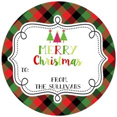 Round Christmas Stickers Labels  plaid address gift by stickerchic