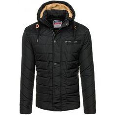 Čierne pánske zateplené vetrovky s kapucňou - fashionday.eu 24386e8b11f