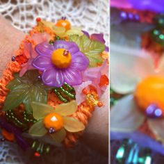 Crocheted cuff with resin flowers, glass beads and Swarovski crystals. Handmade with love. One of a kind.