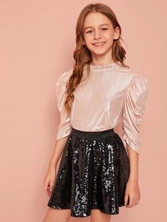 Girls Frill Neck Button Back Ruched Gigot Sleeve Metallic Top – Kidenhouse Preteen Girls Fashion, Teenage Girl Outfits, Girls Fashion Clothes, Kids Outfits Girls, Cute Girl Outfits, Teen Fashion Outfits, Girly Outfits, Cute Casual Outfits, Girl Fashion