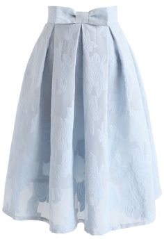 Rose Garden Bowknot Pleated Skirt in Blue - NEW ARRIVALS - Retro, Indie and Unique Fashion