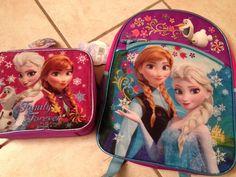 "Frozen Elsa Anna Princess Backpack School Bag 16"" & Lunch Box Bag Schoolbag #frozen #Disney"