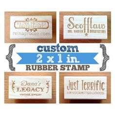 YOUR CUSTOM DESIGN - 2 x 1 in - Art Wood Mounted Rubber Stamp - Perfect for Logo, Branding, Packaging, Invitations, Party, Wedding Favors