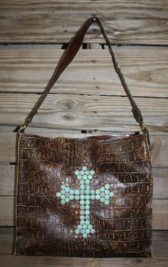 Winchester KurtMen Box Tote in Antiqued Croc and Distressed Turquoise Cross