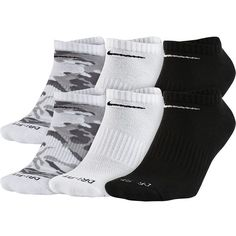 Men's Nike 6-pack Dri-FIT Performance No-Show Socks ($19) ❤ liked on Polyvore featuring men's fashion, men's clothing, men's socks, white, mens white socks, mens camo socks, nike mens socks, mens patterned socks and mens cushioned socks