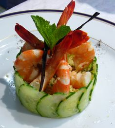 Couscous starter with shrimp & vanilla oil will steal the show at your next BBQ or fancy sit down dinner. This recipe is for a starter size, but you can make them mini as well. Seafood Recipes, Gourmet Recipes, Appetizer Recipes, Cooking Recipes, Seafood Appetizers, Gourmet Salad, Popular Appetizers, Dinner Recipes, Party Appetizers